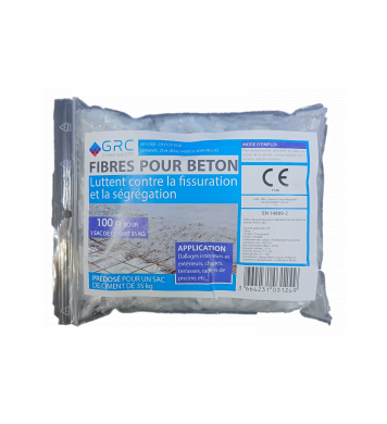 Fibres de polypropylène fibrillées pour béton, dose de 100 g